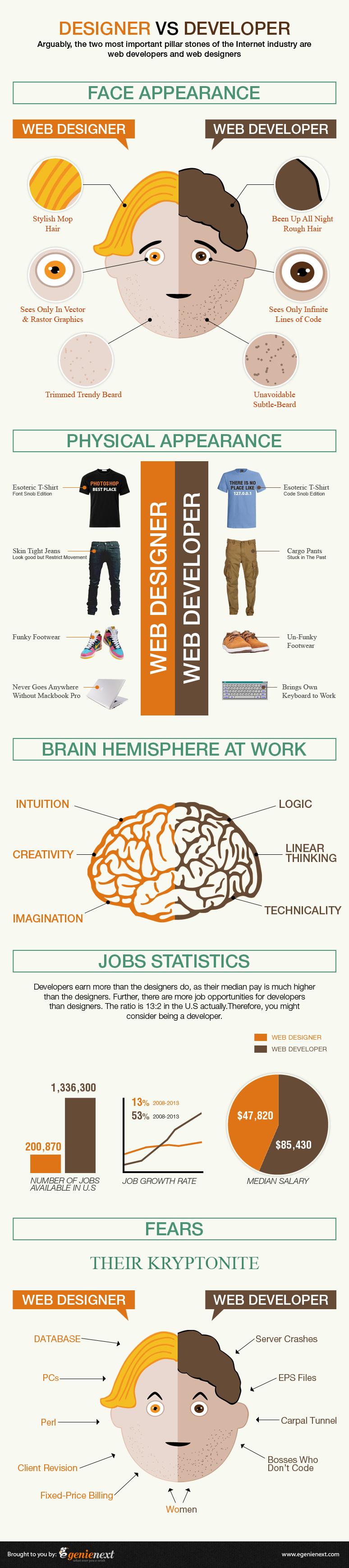 Developer vs Designer Infographics